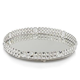 "12"" Round Faux Crystal Border Tray"