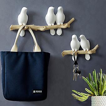 Resin Birds hanger Wall Decorations Home Accessories Living Room Hanger Key Kitchen Coat Clothes Towel Hooks Hat Handbag Holder