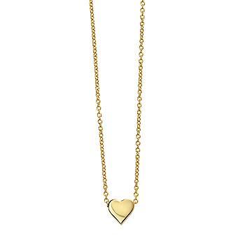 Anfänge vergoldet 925 Sterling Silber Herz Charm Halskette der Länge 42-44cm