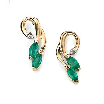 Orecchini a goccia Elements Gold Ladies 9ct Yellow Gold Emerald e Diamond Vine
