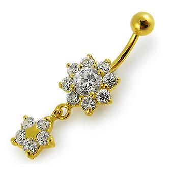 3 Micron 18K Yellow Gold Plated Light Blue Double Studded Flower Dangling Design Sterling Silver Belly Bars Piercing