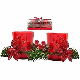 Christmas lights tealight Candle holder Red