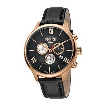 Ferre Milano Men's Black Dial Black Leather Watch