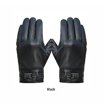 Men's Winter Gloves Washed Leather Touch Screen Warm Windproof Riding Plus