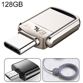 EAGET 128G USB 3.1 + USB-C Interface Metal Twister Flash U Disk, with Micro USB Adapter & Lanyard