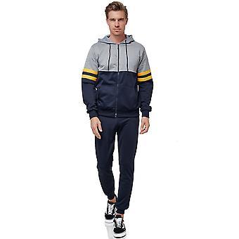 Mens Tracksuit Stripes Basic Color Casual Jogging Sports Suit Fitness Zipper