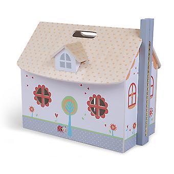 Puppenhaus aus Holz mit Ecotoys-Möbeln eröffnet