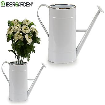 Watering Can Silver White Oval