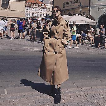 Túlméretezett nők és apos; s trench kabát, kétsoros hosszú övvel, Office Lady