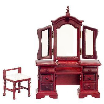 Dolls House Venetian Vanity Dressing Table & Meubles miniatures de chambre à coucher de tabouret