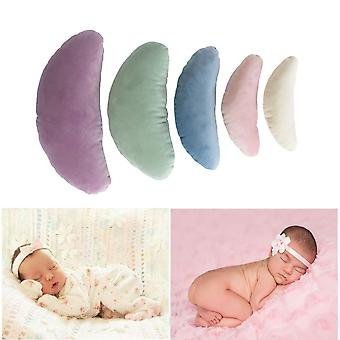 Tee-moo 5 pcs newborn baby photography props, crescent posing pillow basket filler silk props multi-