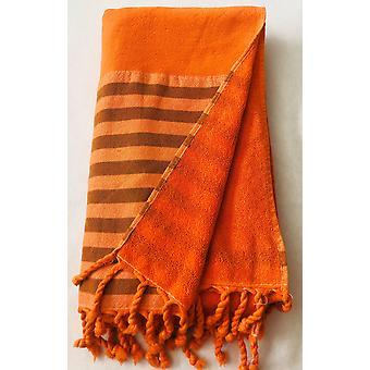 برتقالي نصف تيري منشفة ذكية - 100٪ القطن الطبيعي، منشفة التركية