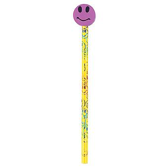 Moon Pencil & Eraser Topper Write-Ons, Smiley Face, Pack Of 36