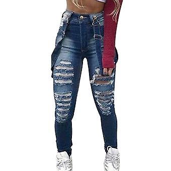 Femeiăs Denim Bib Salopete înalte Rupte Hole Pantaloni Casual Jeans Salopete