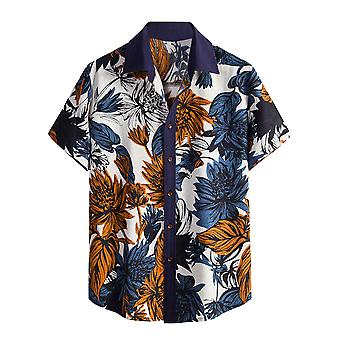 AlltheMen's Blume Casual Button Down Kurzarm Hawaiihemd