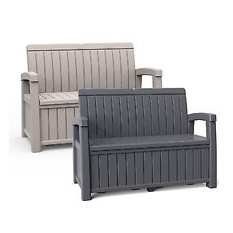 Outdoor 2-Sitzer Garten Aufbewahrungsbank Box 184L wetterfeste Patio Sitzgelegenheiten
