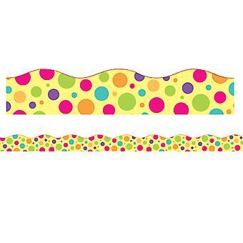 """Bordes/Recortes, Magnético, Corte de vieira - 1-1/2"""" X 24"""", Tema punto colorido, 24' Por paquete, 2 paquetes"""