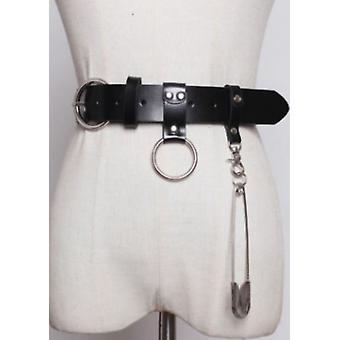 Chunky cuero metal Pin Detalle Cinturón Negro