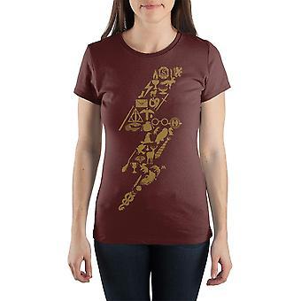 Harry potter curse lightning bolt women's burgundy t-shirtvz54611