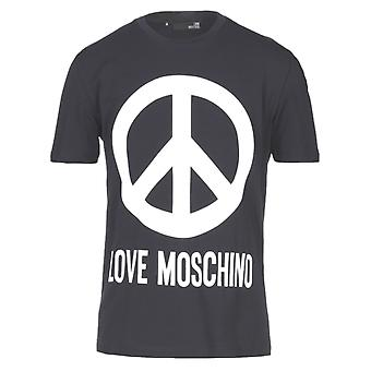 Love Moschino Large Brand Peace Logo Navy Blue T-Shirt