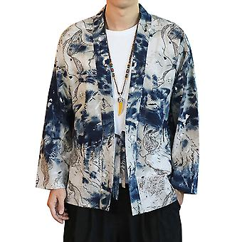 Yunyun Men's Casual Chinese Style Retro Printed Lace-up Cardigan Loose Hanfu Trend
