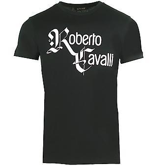 ロベルト カヴァッリ スクリプト ロゴ ブラック T シャツ