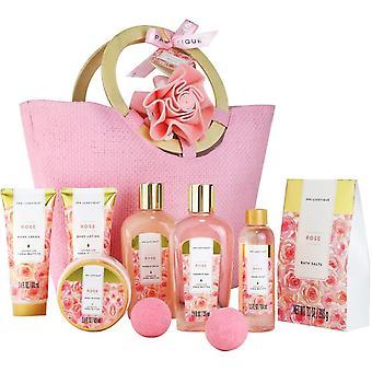 Gift Set for Women - Gerui Spa Gift Set, 10pcs Rose Bath Set, Luxury Shower Set with Bubble Bath,