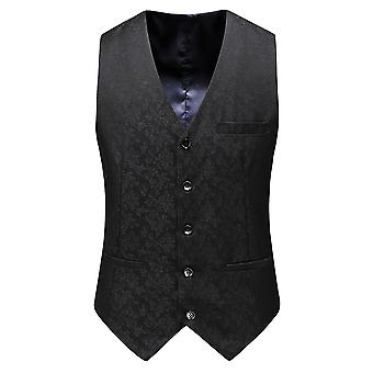 Allthemen Men's Double-breasted Embroidered Floral Three-piece Suit (Top & Vest & Pants)