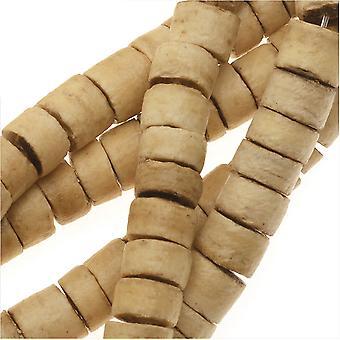 جوز الهند الخشب الخرز، جولة هيشي الفواصل 4x5mm، 100 قطعة، الورنيش الطبيعي
