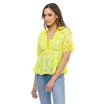 V hals neon blouse met geborduurde bloemen en elastische taille