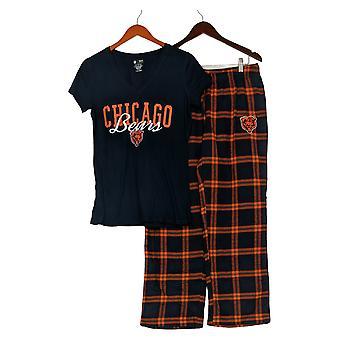 NFL Women's Pajama Set Sxz Bears Flannel Pants & T-Shirt Blue A370730