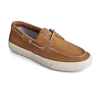 Sperry Bahama Plushwave Mens Leather Boat Shoes Tan