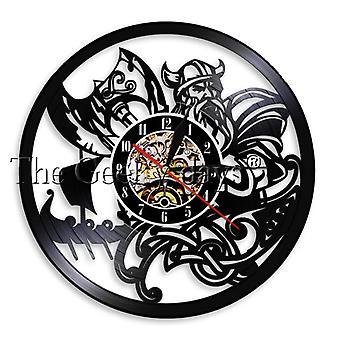Viking Warrior vinyl plate vegg klokke