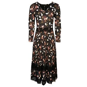 K-design Black Floral Design Long Sleeve Pleated Maxi Dress With Lace Detail