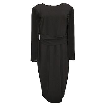"""Antthony Dress """"All That Glitters"""" Pleated Chiffon Sleeve Black 743564"""