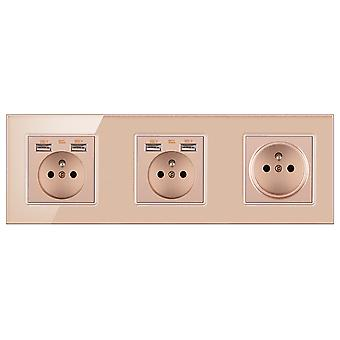 Power Outlets Glass Three-slot Wall Sockets With Pins With 4 Usb Outlets