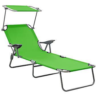 vidaXL sunbed with sunscreen steel green
