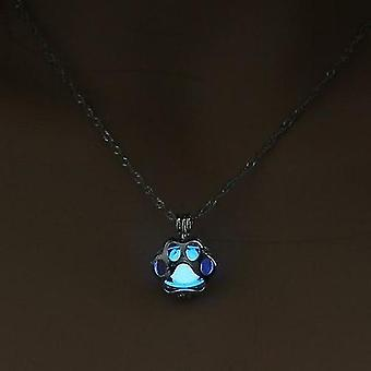 Necklace Metal Animal Paw Necklace Hollow Pendant Night Luminous Light(Blue)