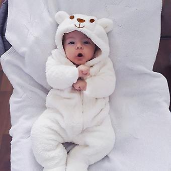 2021 Ny sød baby nyfødt baby dreng pige tøj langærmet hoddies bjørn lynlås baby romper tøj efterår vintertøj 0-18m