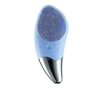 Sonic cleansing brush, waterproof facial massager, facial exfoliating and blackhead tools. Anti-aging silicone face brush. Compact cleaning brush and ultrasonic cleaner(Blue)