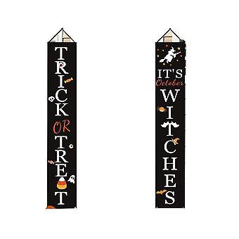 Halloween Decorations Outdoor | Trick Or Treat & It's October Witches Front Porch Signs For Halloween Decor | Fall Decor | Halloween Welcome Sign