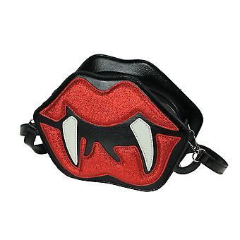 Glittery Red Vampire Lips With Fangs Black Vinyl Crossbody Handbag