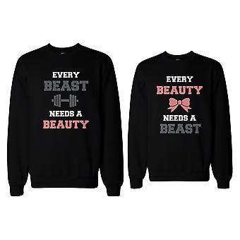 Schöne und Biest brauchen einander passende Sweatshirts für Paare