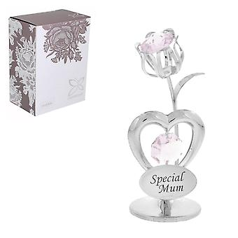 Holiday ornament displays stands heart and tulip with swarovski crystal mother's day christmas gift - special mum