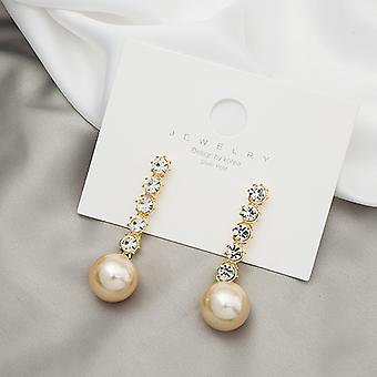 Silber Nadel Set mit Diamant Luxus Flash Diamant Große Perle Persönlichkeit Rote Ohrringe