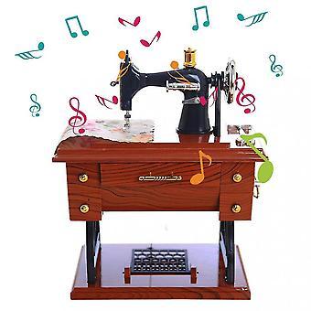 Mini Couture Machine Music Box Mechanical Birthday Gift Table Décor