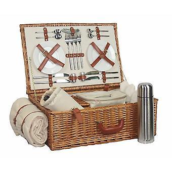 Deluxe, voll ausgestattete traditionelle Picknickkorb mit 4 Person