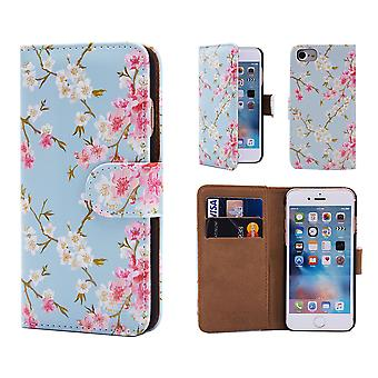 32nd Floral Design Book for Apple iPhone 7  / iPhone 8 - Spring Blue