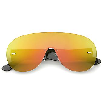 Futuristische montuurloze Frame Mono Lens Aviator Shield zonnebril 71mm