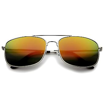 Classic Metal Crossbar Colored Mirror Square Lens Aviator Sunglasses 56mm